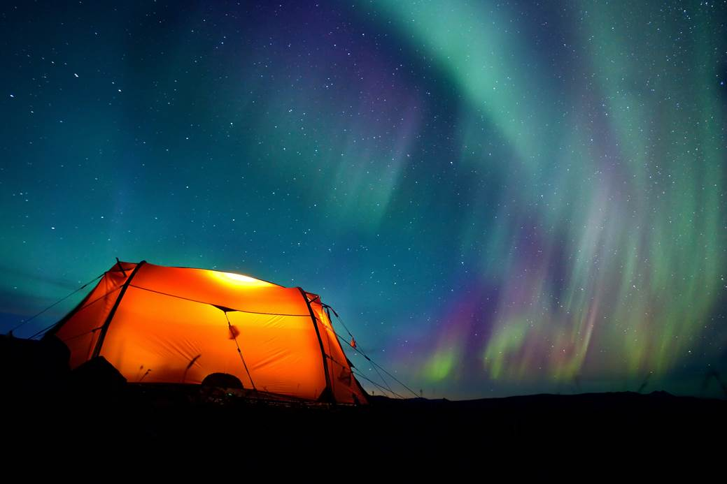 Camp under the Northern Lights, Swedish Lapland