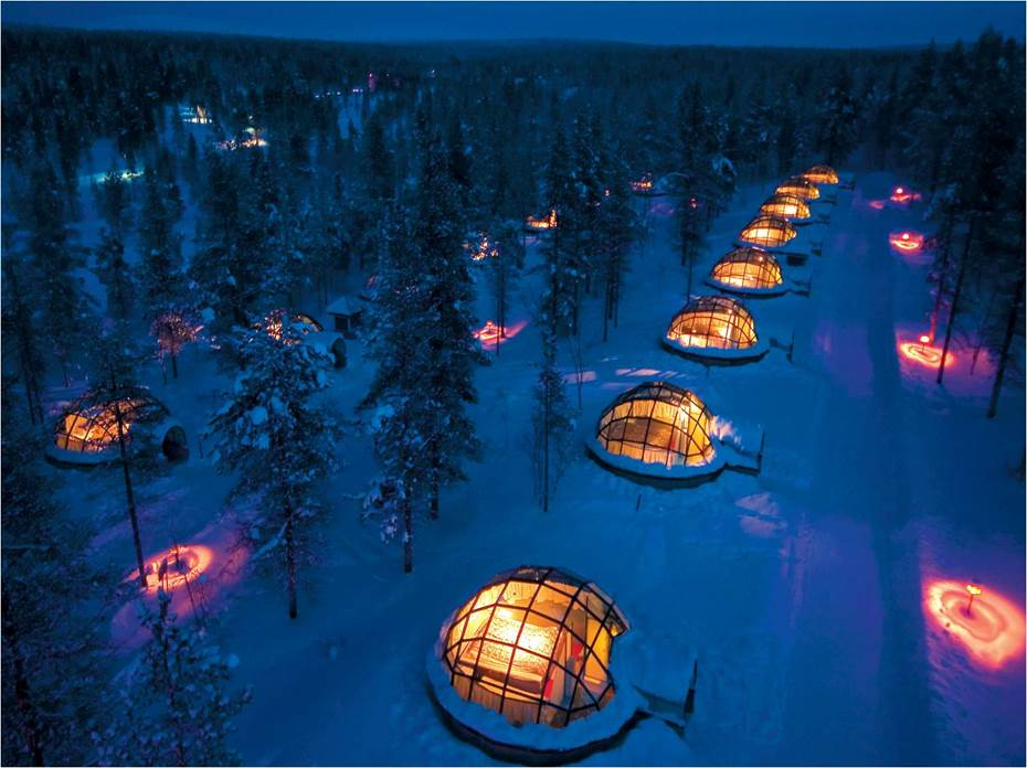 Glass Igloo village in Ivalo, Finland